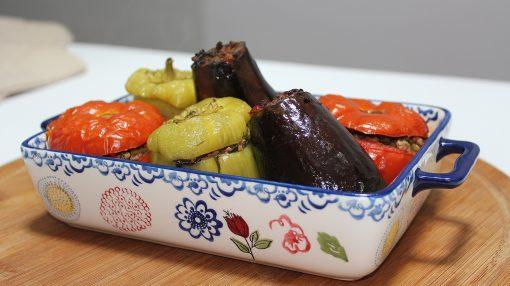 3 bacı (bibər, badımcan, pomidor) dolması resepti